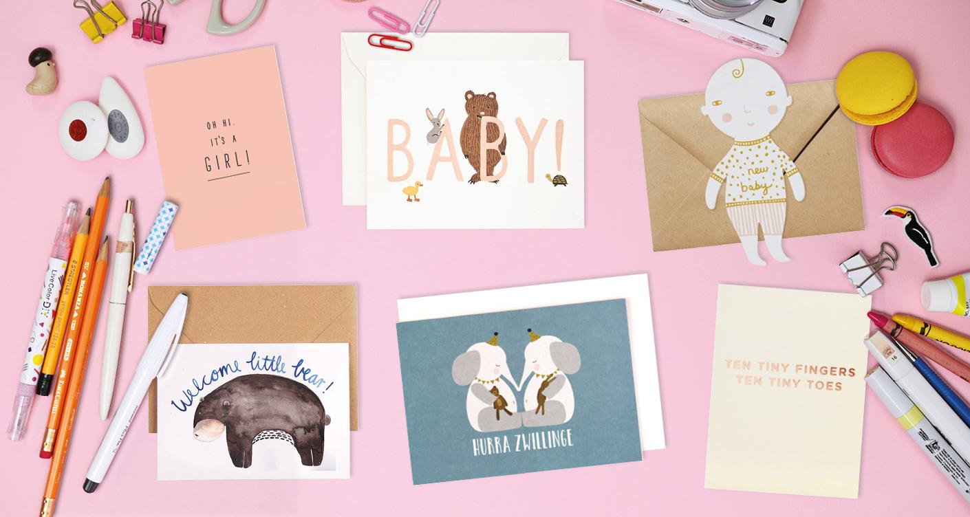 Grußkarten zur Geburt, Klappkarten, Postkarten, Geburt, Zwillinge