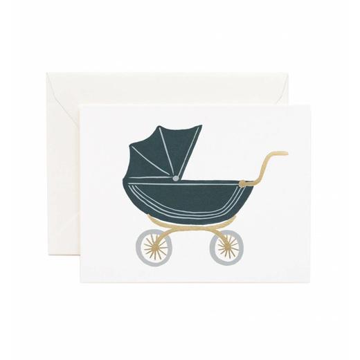 Postkarte Klappkarte Grußkarte Geburt Kinderwagen