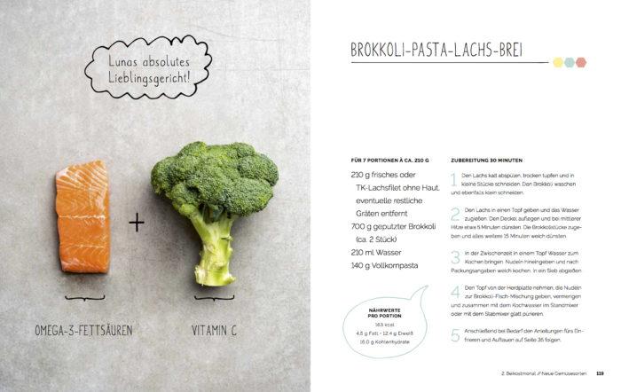 Rezept für Babybrei Brokkoli Pasta Lachs Brei