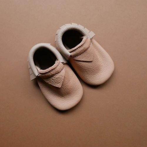 Moccs Béton beige Babyschuhe Kinderschuhe Krabbelschuhe weiches Leder