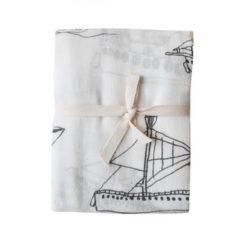 finelittleday Mulltuch Print Illustration Boot Baby Geschenk Geburt Baumwolle