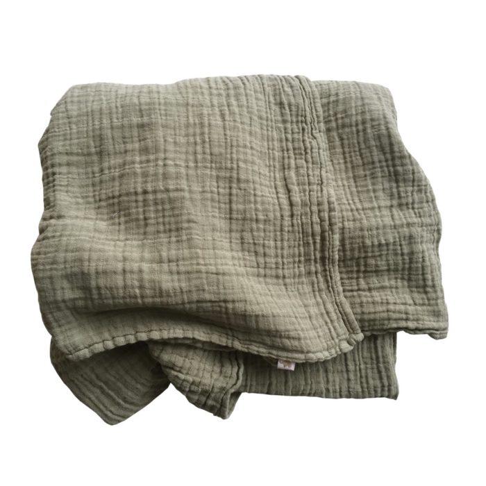 Nooshi Tuch Petit Stellou moos grün Kuscheltuch Swaddle Geschenk zur Geburt Geschenkidee Baby Kleinkind Schal