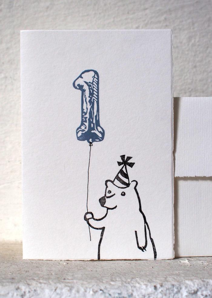 Postkarte zum ersten Geburtstag