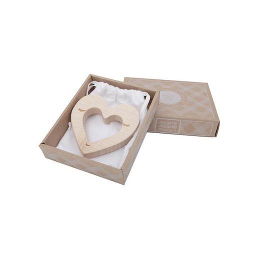 Beißring aus Holz Herzform Woodenstory Babyspielzeug Geschenk zur Geburt