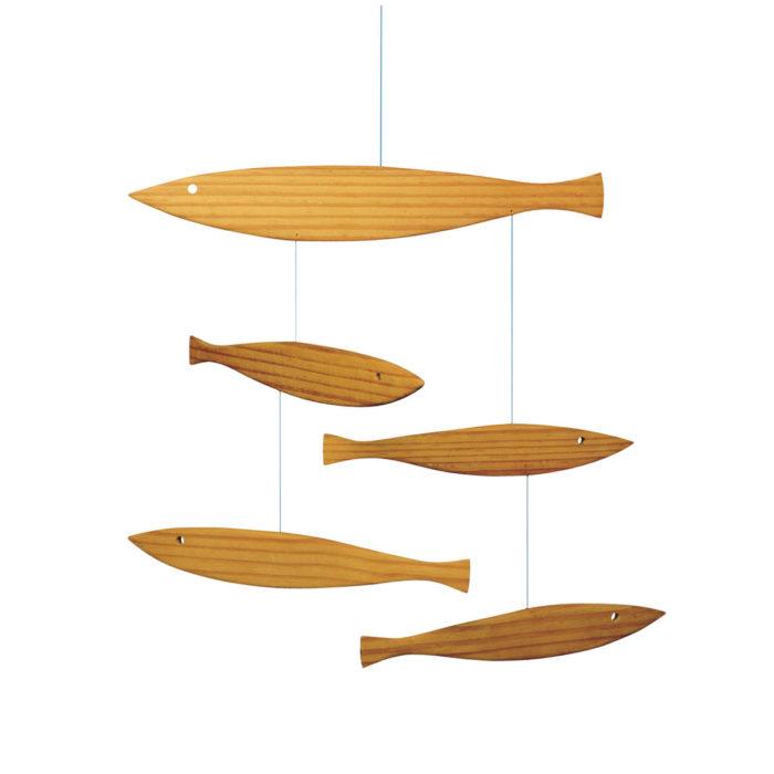 Fisch Mobile Pinienholz Einrichtung Dekoration Babyzimmer Geschenk zur Geburt Kinderzimmer Wohnen