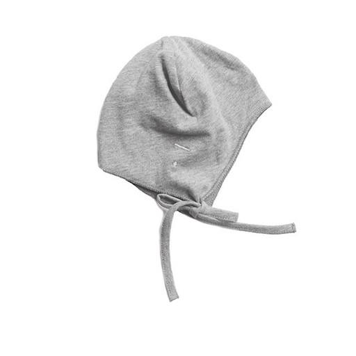 Babymütze graue Babyhaube Neugeborenes Baby Gray Label Erstausstattung Geschenk zur Geburt